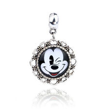 Retro Silver Mouse Cabochon Glass Dangle Charm Bead Fit Bracelet D219