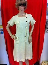 Vintage 1920's Pale Yellow Linen Day Dress Size Small 34 Bust as is