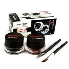 Waterproof Lasting Eye Liner Eyeliner Gel Makeup Cosmetic + Brush Black 2PCS Hot
