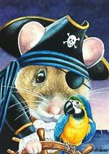 ACEO Limited Edition Print Halloween Costume Mouse Pirate Parrot Ocean J.Weiner