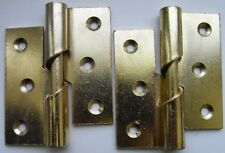 "Pair of 3"" / 75mm Brass Plated Steel LEFT HAND Rising Butt Hinges + Screws"