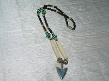 Estate Rustic Black Tan Turquoise Plastic & Wood Bead with Silvertone Arrowhead
