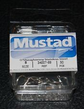 50 Mustad 34007SS-08 Size 8 Saltwater Stainless Steel O'Shaughnessy Hooks