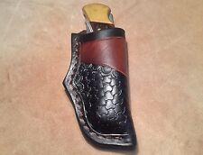 Custom Leather Sheath w/half round basketweave for BUCK 110