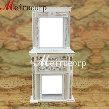 Vintage 1:12 Scale Miniature Furniture Dollhouse Fireplace White Handcrafted