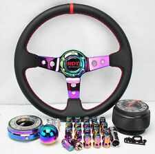 FOR 89-97 240SX NEO CHROME STEERING WHEEL +HUB+QUICK RELEASE+SHIFT KNOB+ LUG NUT