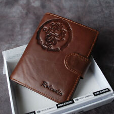 Rolendio Genuine Leather Men's Bifold Wallet  Purse with Zipper Coin Slot J392