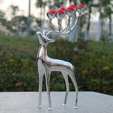 silver plated zinc alloy deer shaped candle holder stand candelabra