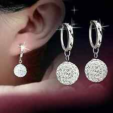 Women Fashion 925 Sterling Silver Full Crystal Ball Drop/Dangle Earrings Jewelry