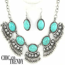 CHUNKY SIMULATED TURQUOISE WEAR ANYWHERE JEWELRY SET CHIC & TRENDY ACCESSORIES