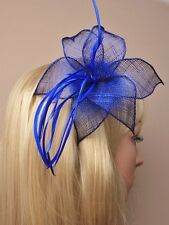 LARGE ROYAL BLUE FEATHER Becco Clip Fascinator con Cappello Donna Giorno Matrimonio RAZZE