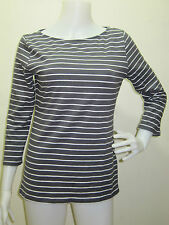 Auth H&M Women's Stripe Shirt 3/4 Sleeves XS GRAY PIMA Cotton
