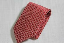 NEW DolcePunta Italy 100% Pure Silk Handmade Red Geometric Ring Pattern Tie