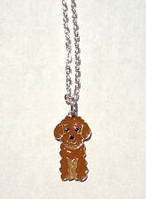 Brown POODLE Charm Necklace Enamel Dog Pendant Puppy Women Kids