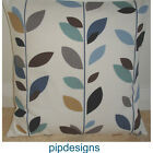 "NEW 20"" Cushion Cover Stem Leaves Duck Egg Blue Brown Beige Grey Teal Black"