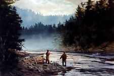 Nice Oil painting The Last Run fishers by river landscape canvas