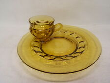 Vintage Indiana Glassware Kings Crown Thumbprint Amber 4 Snack Sets Cup Tray VGC
