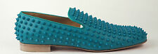 $1395 Christian Louboutin Turquoise Leather Spiked Rollerboy Loafer EU 43 US 10