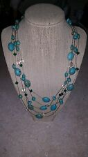 Turquoise Like beads and crystal beads on a wire.