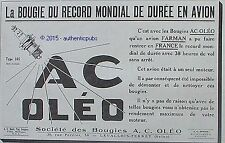PUBLICITE BOUGIE AC OLEO RECORD MONDIAL DUREE EN AVION FARMAN DE 1924 FRENCH AD