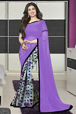 Wama Fashion Designer latest purple and white color georgette beautiful saree