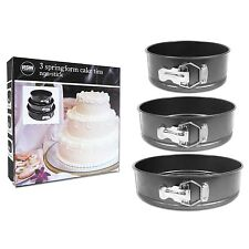 3pc Non Stick Spring Form Round Cake Baking Bakeware Bake Tin Tray Pan 18 22 26C