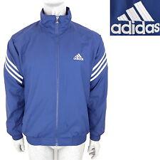 Vintage 90s ADIDAS Track Jacket Windbreaker Coat (Mens L Large) Blue White 80s