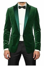 Mens Wedding Grooms Tuxedo Dinner Casual Green Velvet Coat Jacket Blazer