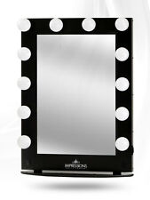 Hollywood Glamour XL Lighted Make-up Vanity Table top Mirror BLACK w FREE LEDs