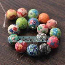 30pcs Mixed 15mm Round with Rhinestones Clay Polymer Fimo Charms Loose Beads