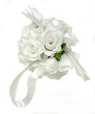 12 FLOWER BALLS ~ WHITE ~ Kissing Wedding Flowers Pew Bows Centerpieces Decor