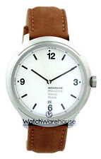 Mondaine MH1.B1210.LG Helvetica No1 Bold Men's Brown Leather Watch New in Box