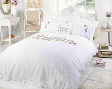 White King Size Duvet Cover Set Ribbon Detail Frilly Bedding Bed Set Dream