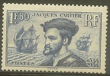 """FRANCE STAMP TIMBRE N°297 """" JACQUES CARTIER, BATEAU, CANADA 1F50 """" NEUF xx TTB"""
