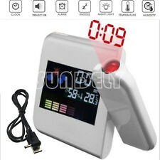 Digital LED Alarm Time Dual Laser Wall Projector Projection Temperature White UK