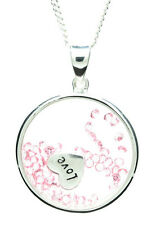 """925 sterling silver """"love"""" floating disc pendant & necklace"""