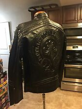 AFFLICTION Lemmy Limited Edition MOTO Leather Jacket 1100W145 $595 Retail Large