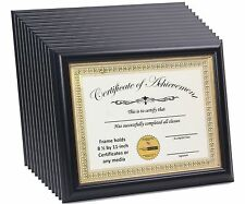 12 Pack 8.5x11 Black Certificate Frame with Gold Rim Displays Certificates