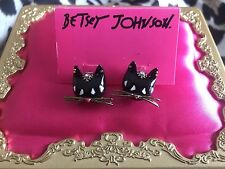 Betsey Johnson Moroccan Morocco Adventure Black Cat Head Stud Earrings VERY RARE
