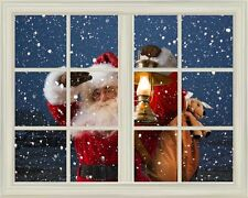 "Wall Mural-Santa Claus Carrying Gifts outside of Window on Christmas Eve-24""x32"""