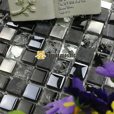 black glass mix stone and metal mosaic for bathroom shower backsplash tile