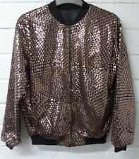 Women festival Ladies bronze gold sequined bomber Jacket 18 sparkly coat shiny