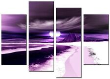 4 Panel Total size 98x78cm Large Digital Canvas Art Abstract Prints BLADE Purple