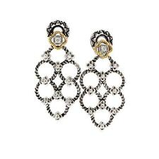Andrea Candela 18k Sterling Silver Diamond Bezel Cable Dangle Earrings ACE357/04
