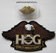 Harley Davidson HOG New Style Eagle Small Patch & Pin Set. NEW! FREE UK P&P!