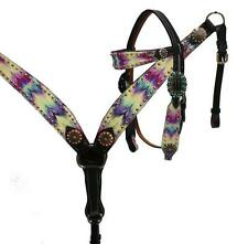 Showman DARK Leather Bridle & Breast Collar Set Multi Color CHEVRON Print! TACK!