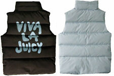 JUICY COUTURE Puffer Vest Viva La Juicy ONE Reversible Brown Blue Down SMALL