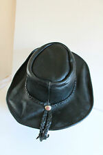 Vintage Australian Bush Hat 100% Leather Black  Cowboy Stetson Aussie Outback