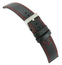 20mm Hadley Roma Carbon Fiber Black Padded Watch Band with Red Stitching MS847