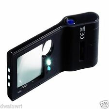 """6 in 1"" LED Pocket Magnifier: 3X, 10X magnifier; 55X with LED LIGHT and UV"